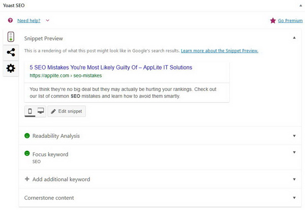 Yoast Screenshot - 5 SEO Mistakes article